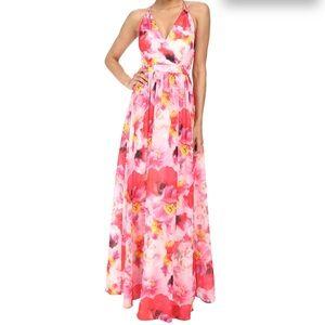 Aidan Mattox floral chiffon gown